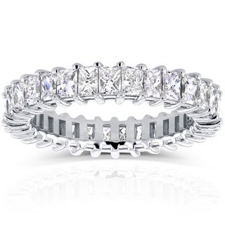 Annello 14k White Gold 3 1/6ct TDW Princess Baguette Diamond Eternity Band (G-H, VS)