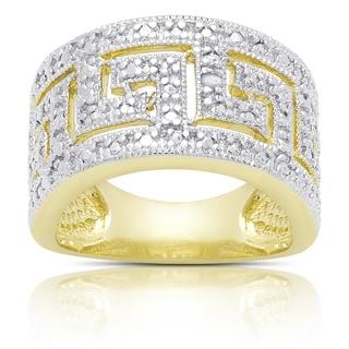 Finesque Gold Overlay Diamond Accent Greek Key Ring (I-J, I2-I3)