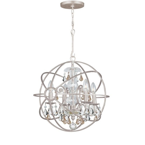 Crystorama Solaris Collection 4-light Olde Silver Mini Chandelier 18246517