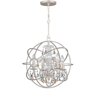 Crystorama Solaris Collection 4-light Olde Silver Mini Chandelier