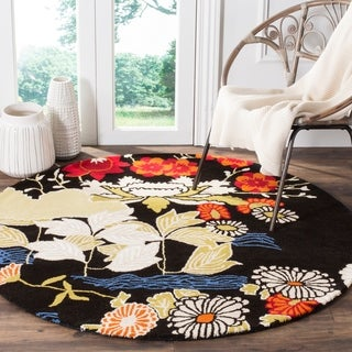 Safavieh Handmade Bella Black/ Multi Wool Rug (5' Round)