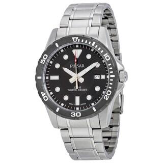 Pulsar Men's Black Analog Dial Stainless Steel Bracelet Watch with Date Window