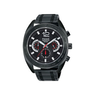 Pulsar Men's Black Ion-plated Stainless Steel Chronograph Dial Bracelet Watch