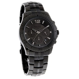 Pulsar Men's Chronograph Black Stainless Steel Quartz Watch with Date Window and Three Sub Dials