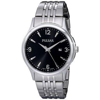Pulsar Men's Black Dial Stainless Steel Bracelet Watch with Date Window