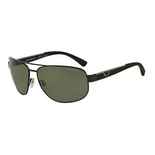 Emporio Armani Men's EA2036 30149A Black Metal Pilot Sunglasses