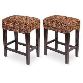 Birdrock Home Sea Grass Backless Counter Stools (Set of 2)