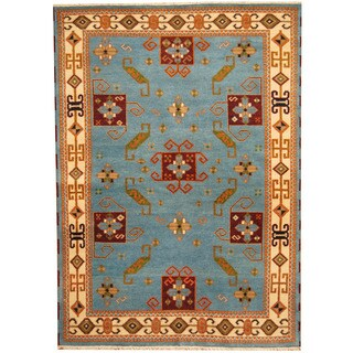 Herat Oriental Indo Hand-knotted Tribal Kazak Teal/ Ivory Wool Rug (5'7 x 7'9)