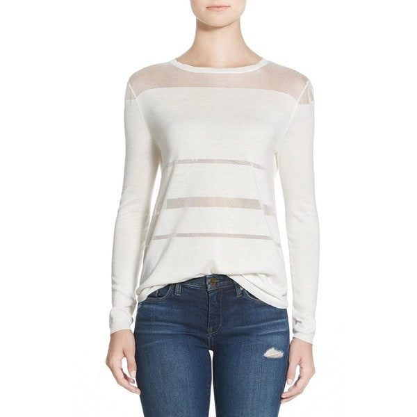 Minkpink Child Of The Night White Sheer Striped Top