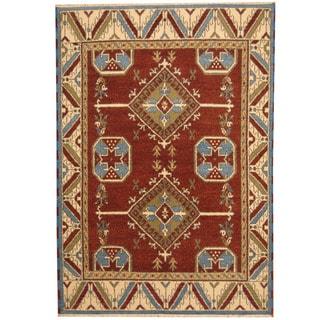 Herat Oriental Indo Hand-knotted Tribal Kazak Rust/ Ivory Wool Rug (5'9 x 8'1)
