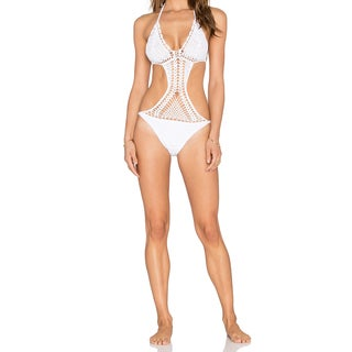 Somedays Lovin Somwhere White Crochet One-Piece Swimsuit