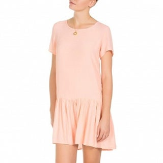 Minkpink Drop Waist Zip Back Pink Tee Dress