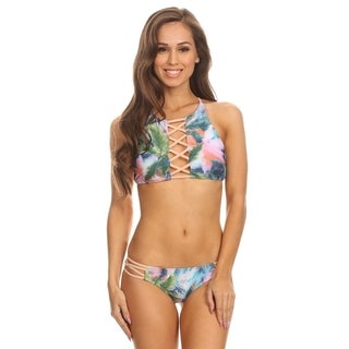 Dippin Daisy's Multicolored Palm Tree Two-Piece Hi-Neck Criss-Cross Tank with Strappy Criss-cross Bottom