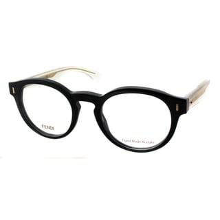 Fendi FF 0028 YPP Black And Crystal Plastic Round Eyeglasses