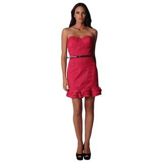 Sara Boo Women's Pink Strapless Flounced Dress