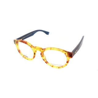 Fendi FF 0028 7OH Spotted Havana And Coral Plastic Round Eyeglasses