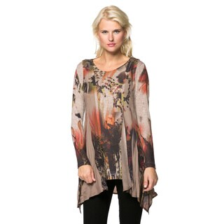 Women's Printed Vest and Cardigan 2-piece Top Set