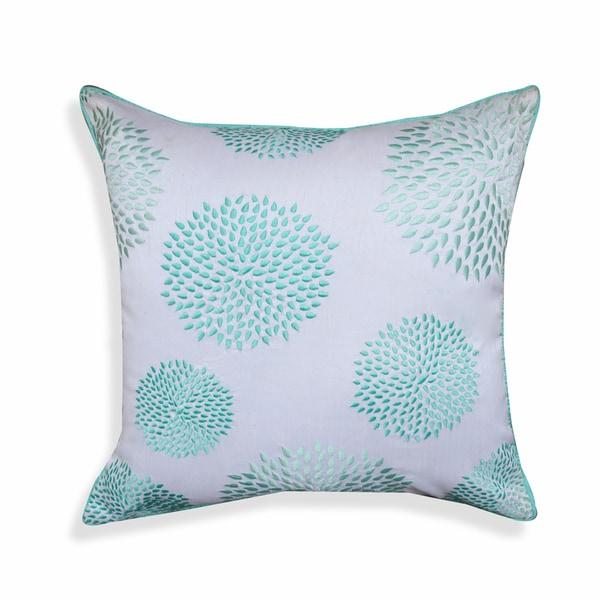 Tamara 20 x 20-inch Pastel Blue Floral Throw Pillow