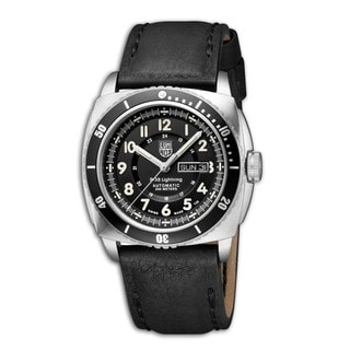 Luminox Men's Black Leather P-38 A.9401 Lightning Black Dial Automatic Watch
