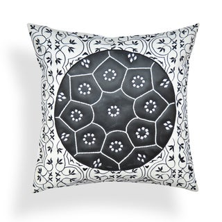 Delilah 20 x 20-inch Black-White Rexene Throw Pillow