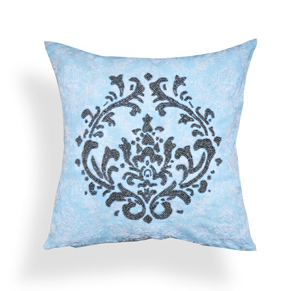Thea 20 x 20-inch Light Blue Beadwork Throw Pillow