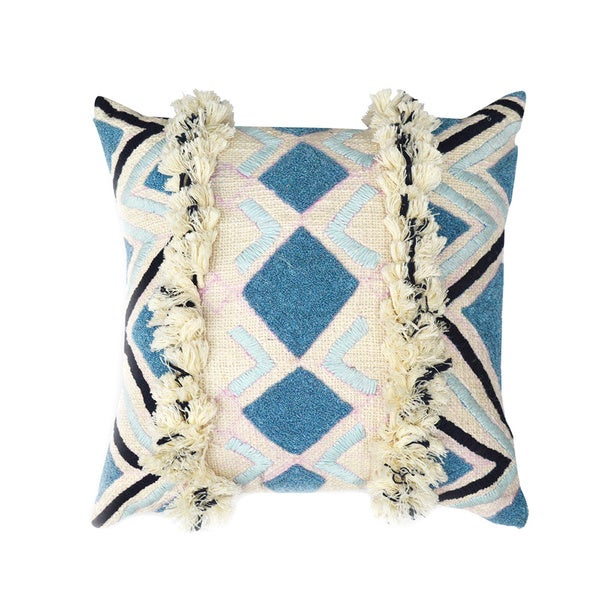 Arabell 20 x 20-inch Cream-Bondi Blue Throw Pillow