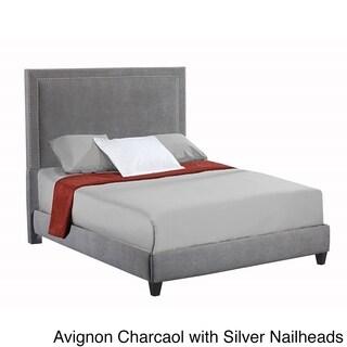 Brookside Portsmouth Stone Nailhead Trim Upholstered King Size Bed