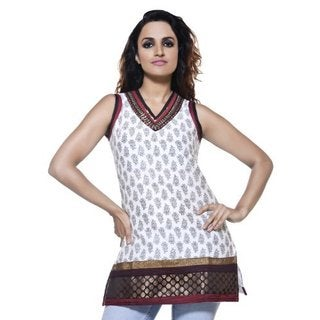 Rangmanch Women's Ethnic Sleeveless Embroidered Kurta Tunic (India)