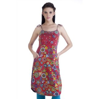 Meena Bindra Women's Floral and Geometric Printed Dress