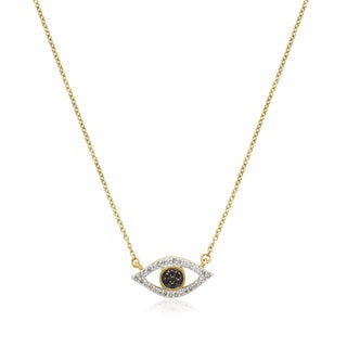 10k Yellow Gold 1/6ct TDW Black and White Diamond Evil Eye Necklace