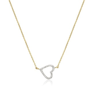 10k Yellow Gold 1/6ct TDW Sideways Small Diamond Heart Attached Necklace