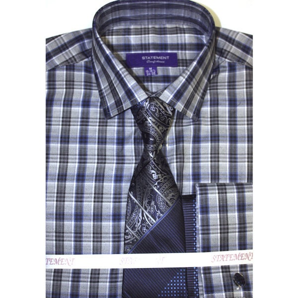 Men's Blue Checkered Dress Shirt with Matching Tie and Hankie Set