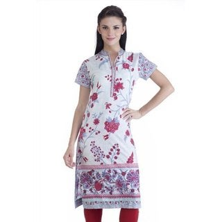 Meena Bindra Women's Floral Printed Tunic with Mandarin Collar (India)