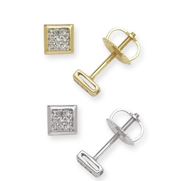 10k Gold Diamond Accent Square Stud Earrings