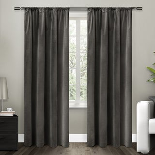 ATI Home Cotton Velvet Blackout Lined Curtain 84 - 96-inch Length Panel Pair
