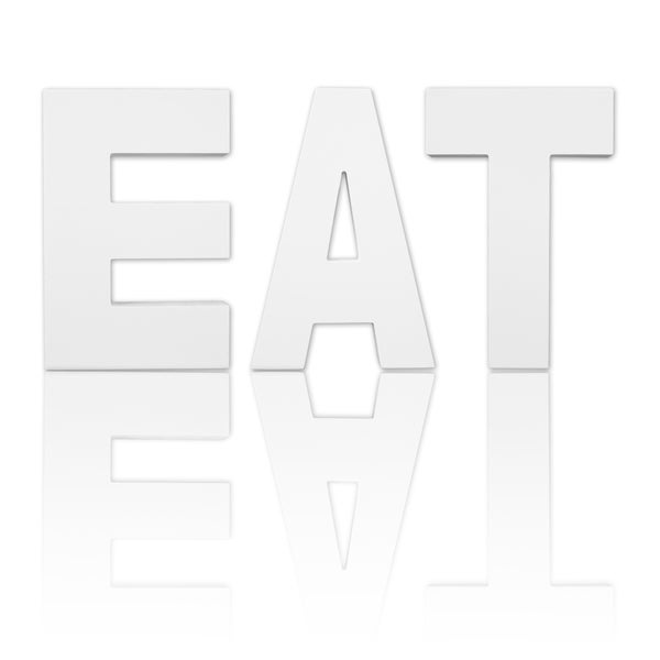 8.75-inch Free Standing White Finish Wooden Decorative Letters 'EAT' Set