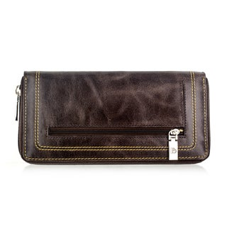 Faddism YL Series Women's Brown Leather Zip-Around Wallet