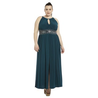 R&M Richards Plus Size Beaded Gown