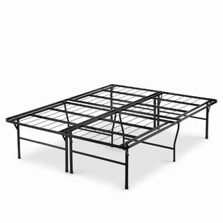 Priage 18-inch High Profile SmartBase Black Platform Bed Frame, Queen