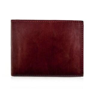 Faddism YL Burgundy Brown Series Men's Leather Bifold Wallet