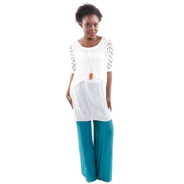 2 Piece Set: Hadari Women's High Fashion Outfit 2 in 1 White Crochet Pull Over and Wide Leg Palazzo Pants 18251433