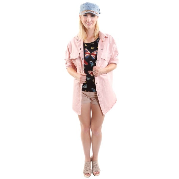 4 Piece Outfit: Hadari Women's Butterfly Fashion Tee, Boho-Feel Jacket, Short-Shorts and Denim Cap