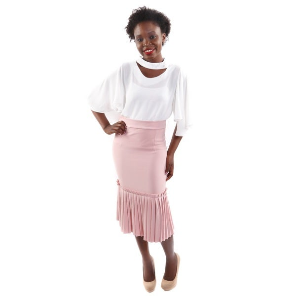 2 Piece Outfit: Hadari Women's Short Bell Sleeve Sheer Blouse and Pencil Skirt With Pleated Hem