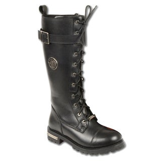 Women's Leather Boot with Calf Buckle and Full Lacing