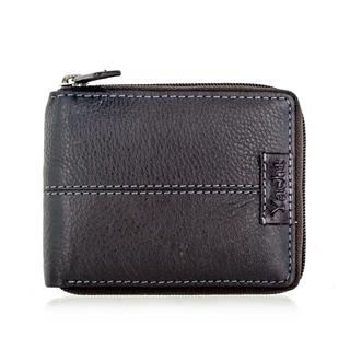 Faddism YACHT Series Men's Dark Brown Leather Zip-Around Wallet