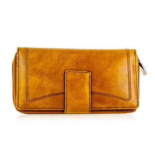 Faddism YL Series Women's Dark Mustard Leather Zip-Around Wallet
