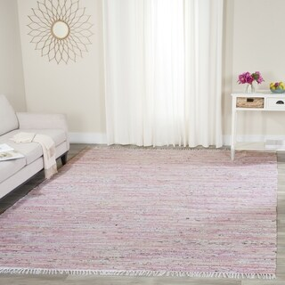 Safavieh Hand-Woven Rag Rug Light Pink/ Multi Cotton Rug (5' x 7')