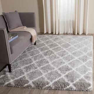 Safavieh Indie Shag Grey/ Ivory Polyester Rug (5' 1 x 7' 6)