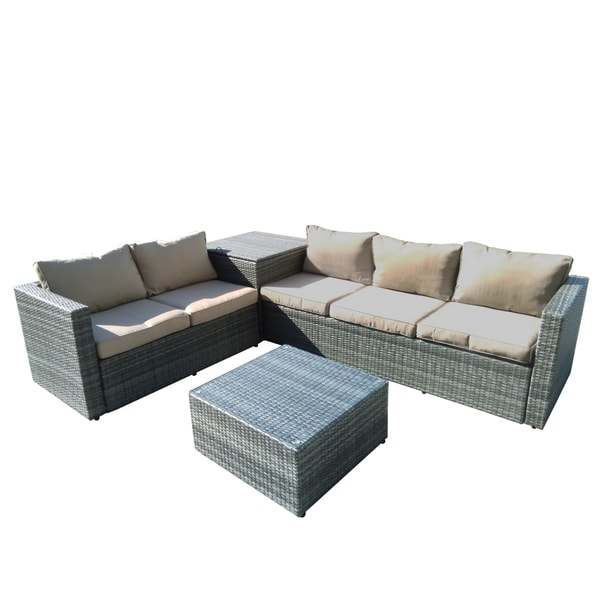 Auroa 4-Piece All-Weather Grey Casual Patio Seating Set With Storage and Beige Cushions