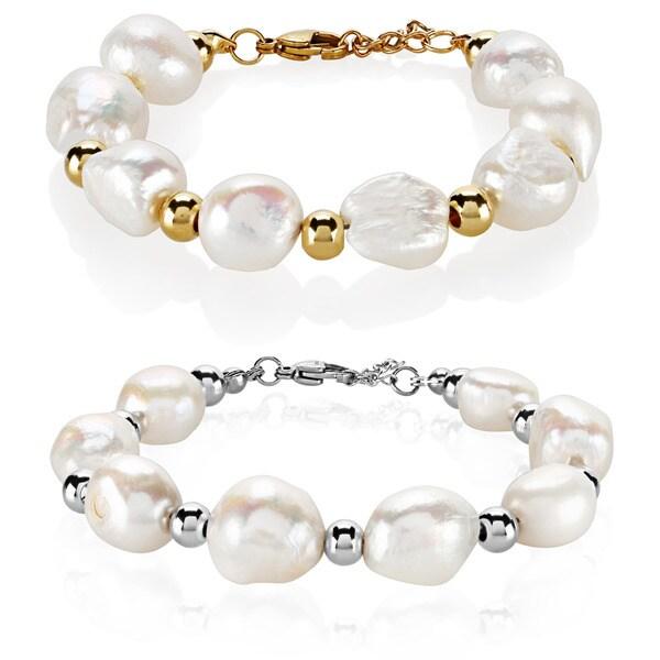 ELYA Fresh Water Pearl High Polish Stainless Steel Bracelet